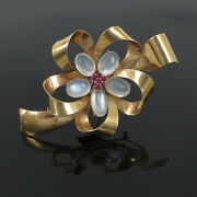 1950andrsquos Retro Ruby And Moonstone 14k Yellow Gold Ribbon Flower Brooch