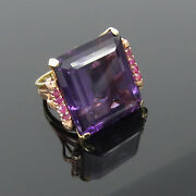 1950andrsquos Retro 35ct Natural Amethyst And 0.40ct Ruby 14k Yellow And Rose Gold Ring