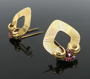 1950andrsquos Retro 1.0ct Ruby And 14k Yellow Gold Riveted Pair Of Clip Pins