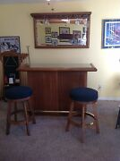 Bar Set Including 2 Spectator Chairs 2 Bar Stools And Mirror Wine Glass Rack