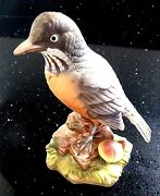 Vintage Lefton China Collectible Robin Spring Bird Figurine Hand Painted Kw7457