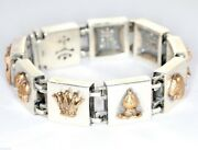 Sterling Silver And Bronze Chess Piece Charm Bracelet