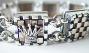 Chess Board Sterling Silver And Bronze Bracelet