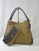 Set Coach F36424 Signature Fabric And Leather Phoebe+checkbook Wallet. Khaki/brown