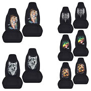 Cc Front Set Car Seat Covers Cobra/tiger/wolf/skull Fits Wrangler Yj/tj/lj
