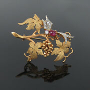 Vintage Diamond And Ruby Hand Carved 18k Gold Grape And Hummingbird Brooch