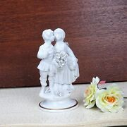 Stunning Figurine Couple Marcolin Capodimonte Porcelain Bisque Italy Signed