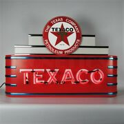 Texaco Gasoline And Motor Oil Neon Sign - Gas - Metal Steel Can - Art Deco Marquee