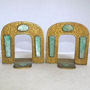 Pair 4.8 Antique Chinese Gilt Brass Bookends With 8 Carved Green Jadeite Jade