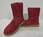 New Ugg Crystal Diamond Classic Short Boots In Oxblood-maroon Us Womenand039s Size 7m