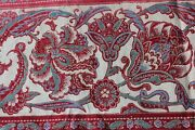 Antique French 1860-70 Jacobean Indienne Home Cotton Border Fabricturkey Red