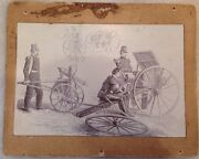 Very Rare 1860and039s Gatling Gun Albumen Photograph Military Army Civil War Picture
