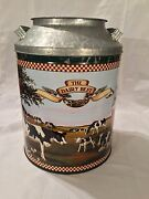 The Dairy Best Lidded Push Top Tin Can-milk Pattern Can 13 Tall X 9 Wide