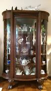 Antique Wooden Curved Glass Display Cabinet Vitrine Buffet Victorian Solid Oak