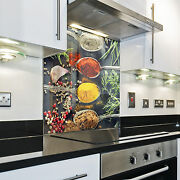 Kitchen Tempered Glass Splashback Protection Spice Spoon Colored