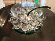Uber Rare Antique 12 Cup Punch Bowl With Forest Green Platter And Ladle