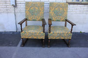 Charming Large And Comfortable Pair Of Oak Spanish Revival Side Accent Armchairs