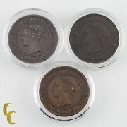 1876, 1887 And 1888 Canada One Cent 1c Lot Of 3 Coins Vf-xf Condition