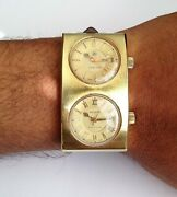 Vintage Swiss 17 Jewels Automatic Ardath Watch Dual Dial Rare Nice Condition