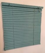 Vtg 80and039s 90and039s Turquoise Teal Blue Green Window Mini Blinds - 19 Wide X 20 Tall