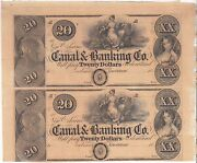 1850and039s 20 New Orleans Canal And Banking Co. 2 Note 1/2 Uncut Sheet 105-g32