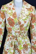 Zinc Colorful Jacobean Floral Trench Coat Belted Jacket Art-to-wear Artsy M Nwt
