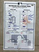 Game-used Line-up David Ortiz Hits 532nd Career Hr Signed Inscribed Mlb Holo
