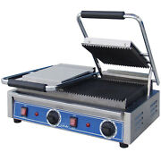 Globe Gpgdue10 Bistro Panini Grill Cast Iron Grooved Plate 18
