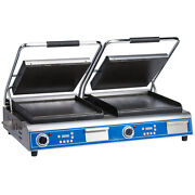 Globe Gsgdue14d Panini Grill 2 14and039and039 Cast Iron Smooth Plates