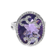 14k White Gold Long Oval Amethyst And Diamond Ring