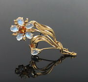 1950andrsquos Retro 2.50ct Citrine And Blue Moonstone 14k Yellow Gold Flower Brooch