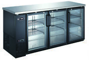 Heavy Duty Black Back Bar Cooler With Three Glass Doors 72and039and039