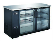 Heavy Duty Black Back Bar Cooler With Two Glass Doors 60and039and039