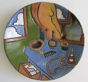 "Rare Judy Miller California Art Pottery 6"" Round Dish ""Nude at Vanity"" 1983"