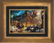 Thomas Kinkade Dark Knight Saves Gotham City 12 X 18 Le E/e Canvas Framed
