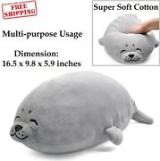 Stuffed Seal Plush Pillow Soft Giant Big Doll Toy Kid Chair Chest Pets Grey New