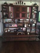 Large Oak Bookcase With Antique Doors And Buffet Bottom. One Of A Kind Very Uni
