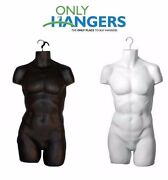 Only Hangers Set Of Black And White Men's Plastic Torsos Hanging Body Forms