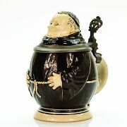Merkelbach And Wick Character Lidded Beer Stein - Monk   Antique Germany 1900s