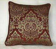 Red Gold Geometric Chenille Throw Pillows With Piping For Sofa Chair Or Couch