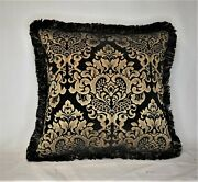 Black Gold Geometric Chenille Fringed Throw Pillow For Living Room Sofa Or Couch