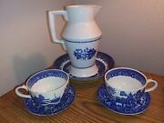 Vintage Blue Willow Challinor Ironstone China Fenton Pitcher And Bowl 2 Cups And