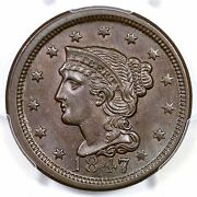 1847 N-32 R-4 Pcgs Ms 64 Bn Cac Braided Hair Large Cent Coin 1c Ex Twin Leaf
