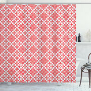Ethnic Shower Curtain Russian Cross Stitch Print For Bathroom 84 Extralong