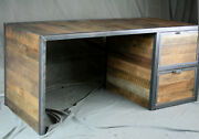 Reclaimed Wood Desk With File Cabinet Drawers. Rustic Office Furniture. Modern
