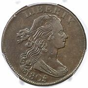 1805 S-269 Pcgs Xf 40 Cac Pointed 1 Draped Bust Large Cent Coin 1c