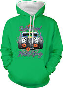 Bulletproof Hot Rod Garage Skull Bullet Holes Ace Car Two Tone Hoodie Sweatshirt