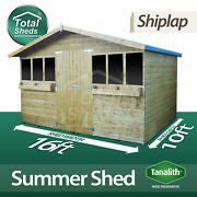 16x10 Tanalised Pressure Treated Garden Summershed Summer House + 1ft Overhang