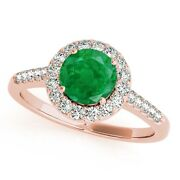 1.20 Ct. Halo Emerald And Diamond Engagement Ring In 14k Solid Gold