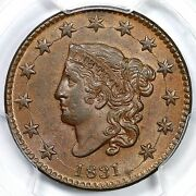 1831 N-12 Pcgs Ms62bn Cac Large Letters Coronet Head Large Cent 1c